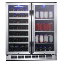 30 inch wide 28 bottle 86 can capacity dual zone wine cooler and beverage center - Beverage Center