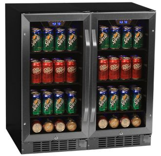 side by side 30 inch wide builtin beverage coolers with blue led lighting - Beverage Coolers