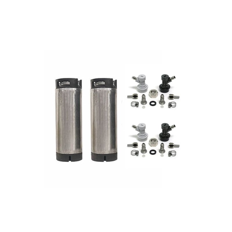 Image of All Safe CK1-CL1-2PK-KIT Reconditioned Homebrew Ball Lock Keg with Conversion Ki
